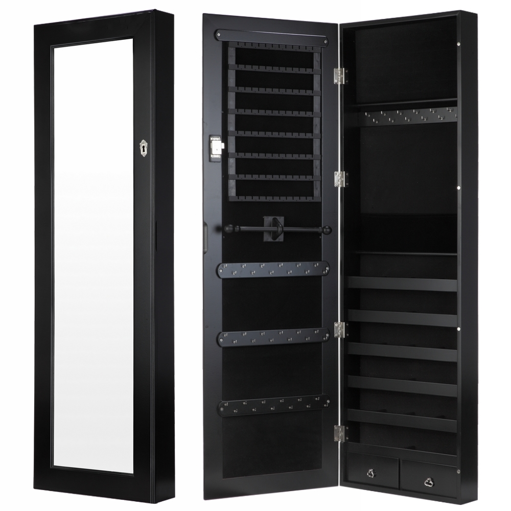 Homegear modern wall mounted jewellery cabinet full length bedroom mirror ebay for Wall mounted bedroom storage cabinets