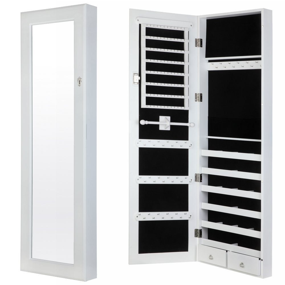 Homegear modern wall mounted jewellery cabinet full for Bedroom wall cabinet with mirror