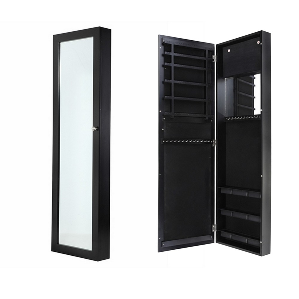 Homegear wall mounted jewellery cabinet full length for Armoire bijoux miroir