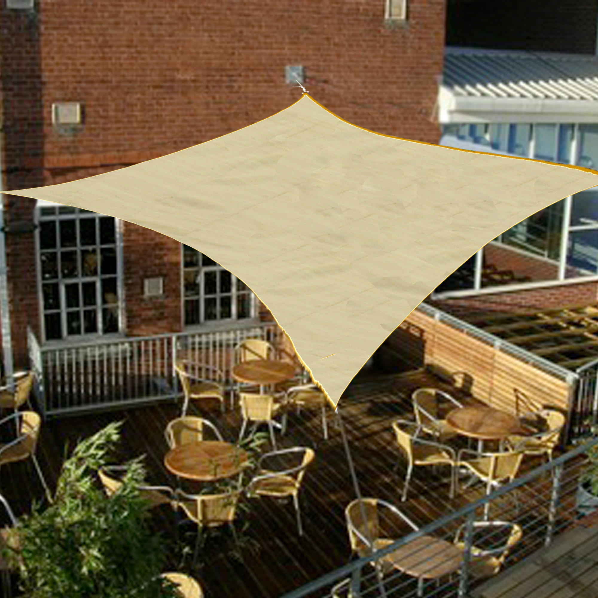 Palm springs square sail shade sun garden patio for Colorado shade sail