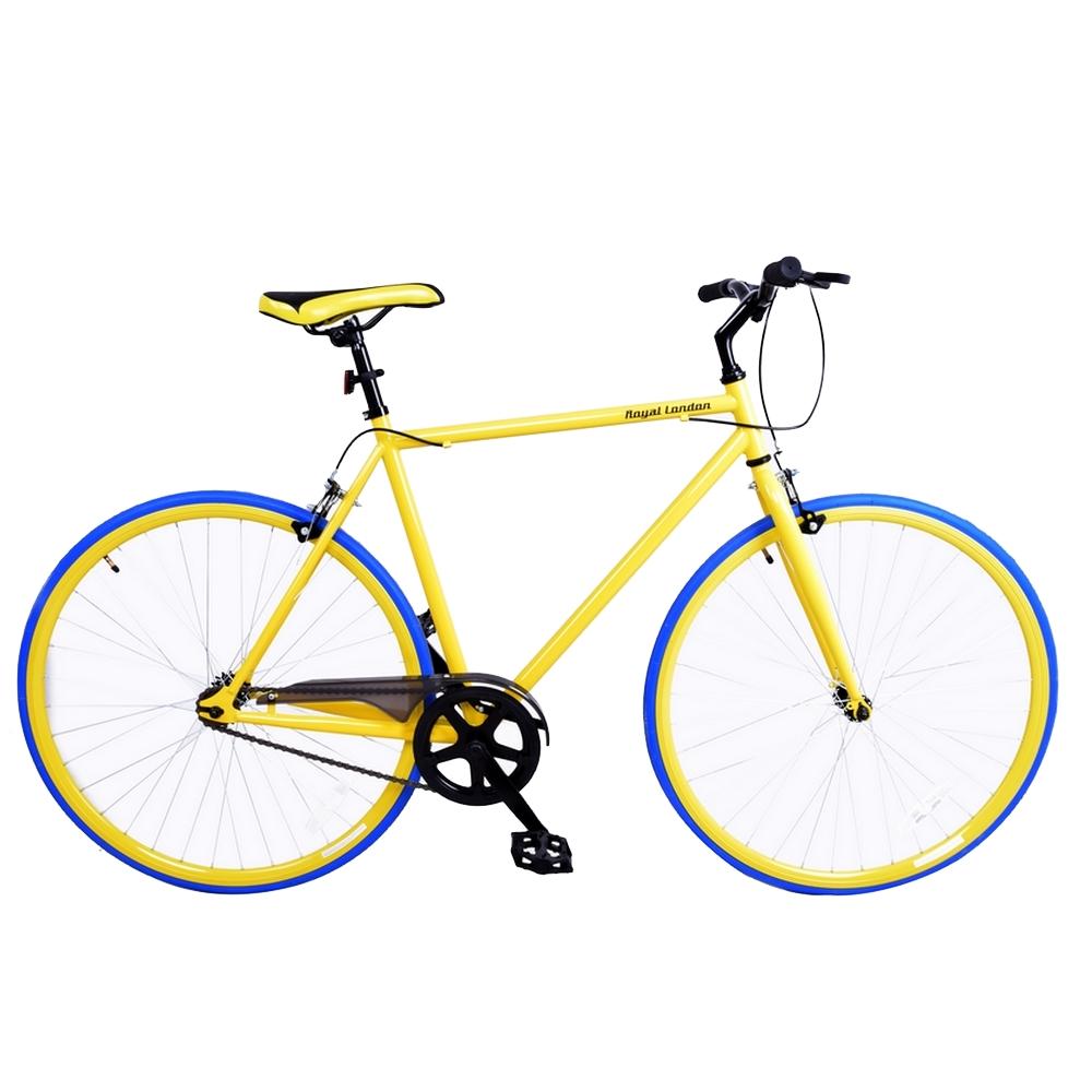 Retro Single Speed Bike London Fixie Fixed Gear Yellow 22 Inch Steel ...