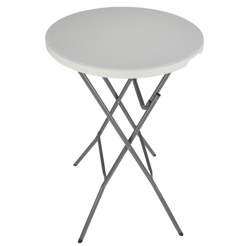 palm springs 32 round white plastic 43 high folding bar table with cover ebay. Black Bedroom Furniture Sets. Home Design Ideas