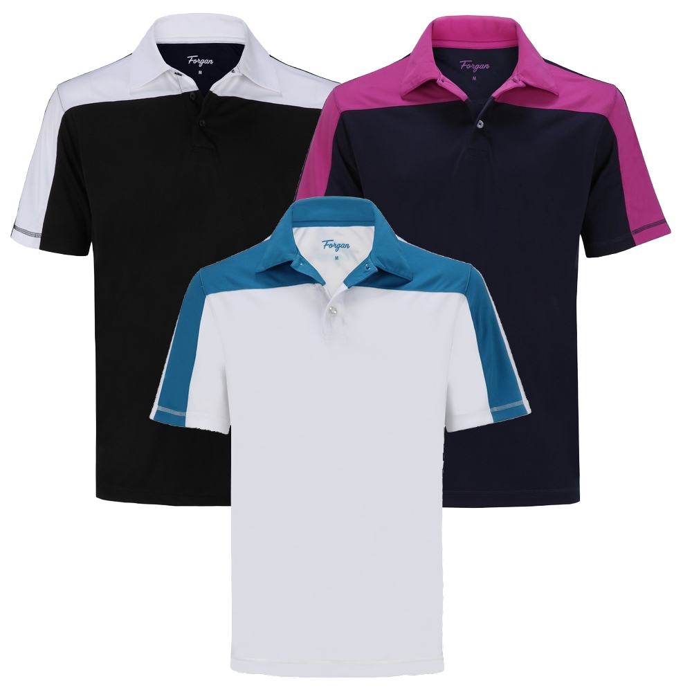 ead86ca16 Golf Outlets USA. Forgan of St Andrews Block Panel Premium Golf Polo Shirts  3 Pack - Mens ...