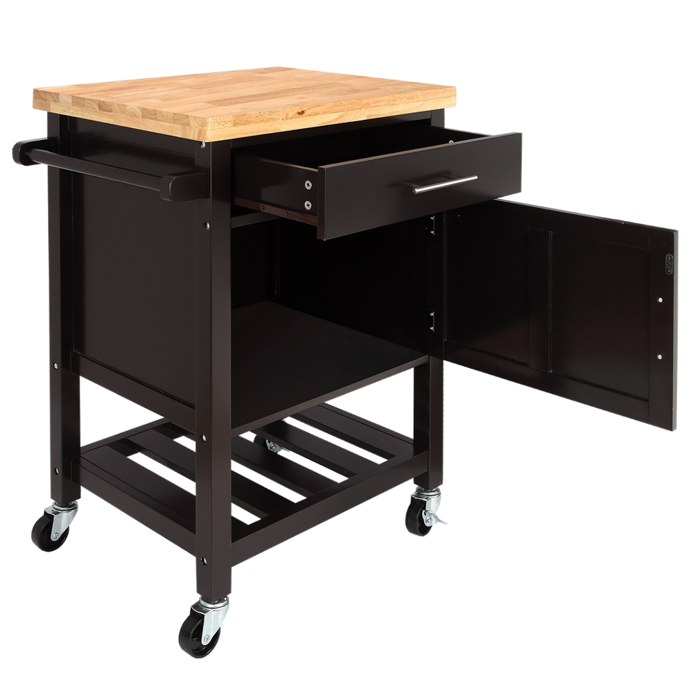 Details about Homegear Kitchen Cart Butchers Block with Shelf and Cabinet  on Wheels