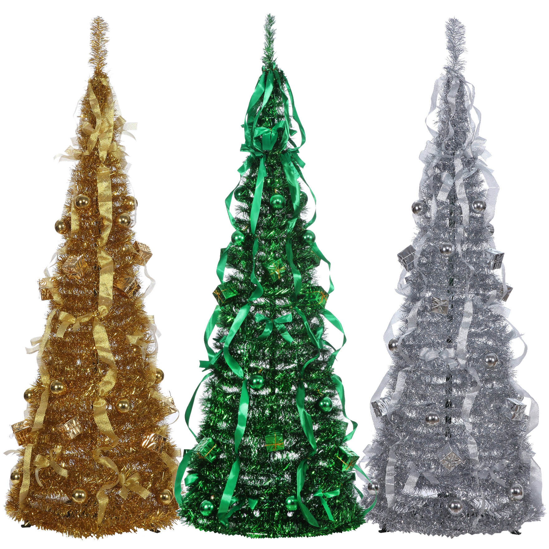 homegear 5ft artificial decorated collapsible christmas tree xmas decoration - Tinsel Christmas Decorations